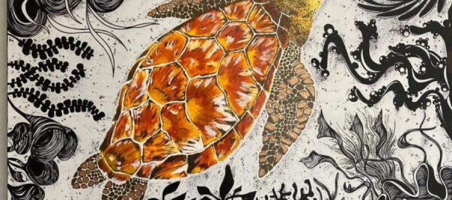 Turtle acrilici e inchiostri indelebili su tela 60x60 cm 2021 collezione privata
